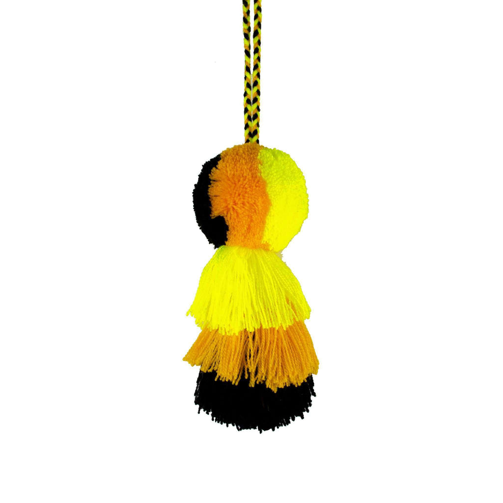 Medium Pom Tassel in Black and Yellow