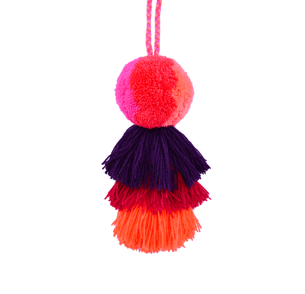 Medium Pom Tassel in Fuchsia, Orange and African Violet - Josephine Alexander Collective