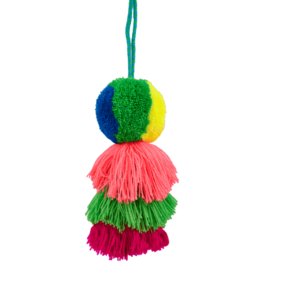 Medium Pom Tassel in Green Yellow