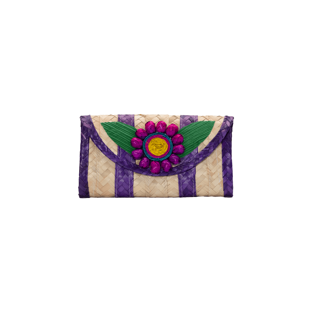 Melissa Wallet in  Grape with Pink Flower - Josephine Alexander Collective