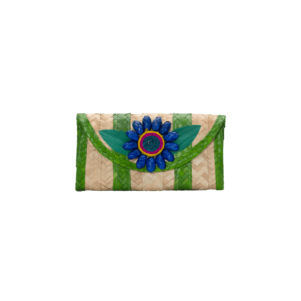 Melissa Wallet in Lime with Dark Blue Flower - Josephine Alexander Collective