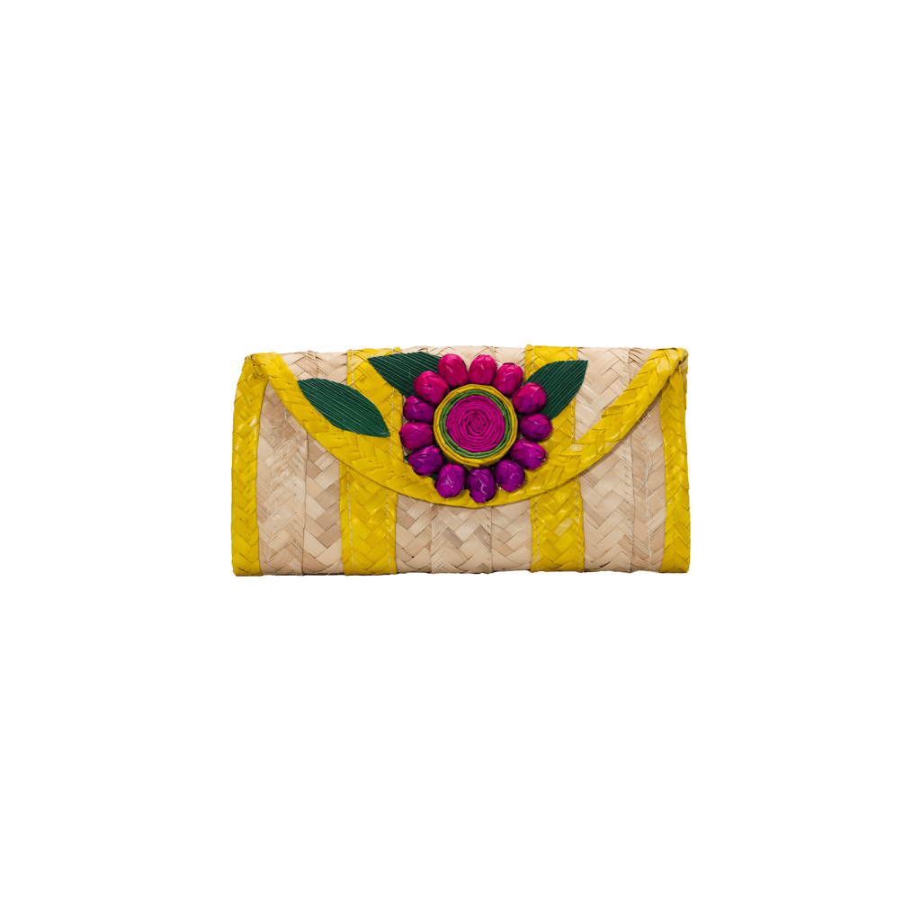 Melissa Wallet in Yellow with Purple Flower - Josephine Alexander Collective