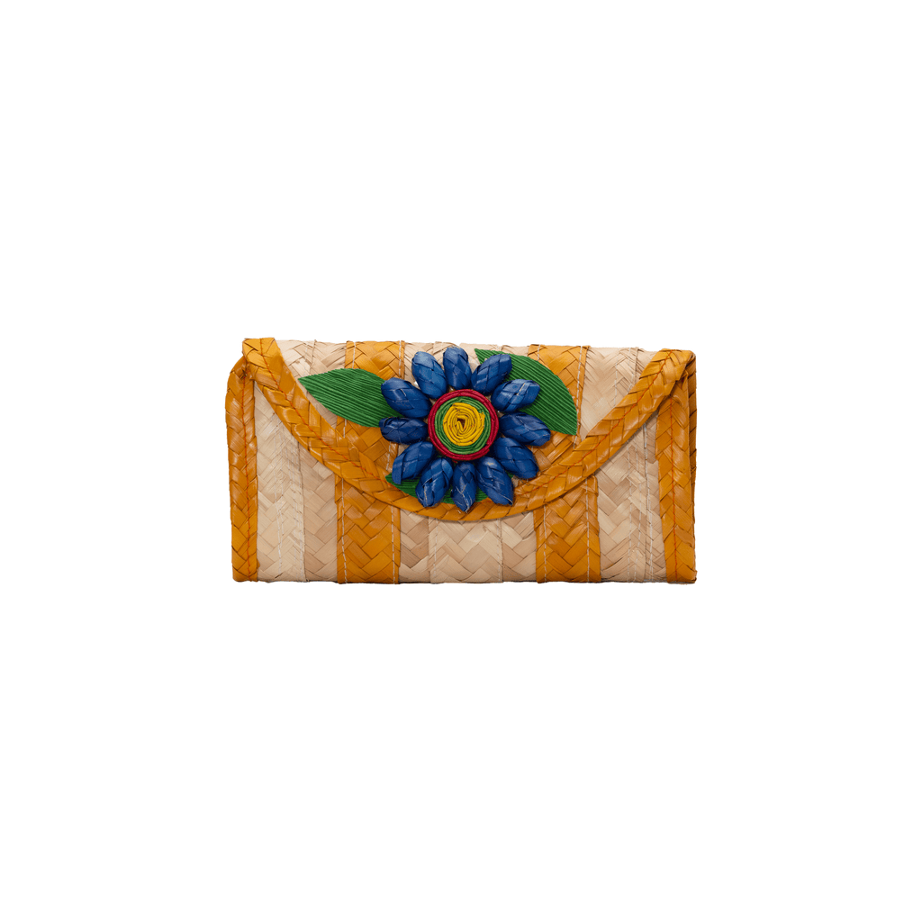 Melissa Wallet in Orange with Dark Blue Flower - Josephine Alexander Collective