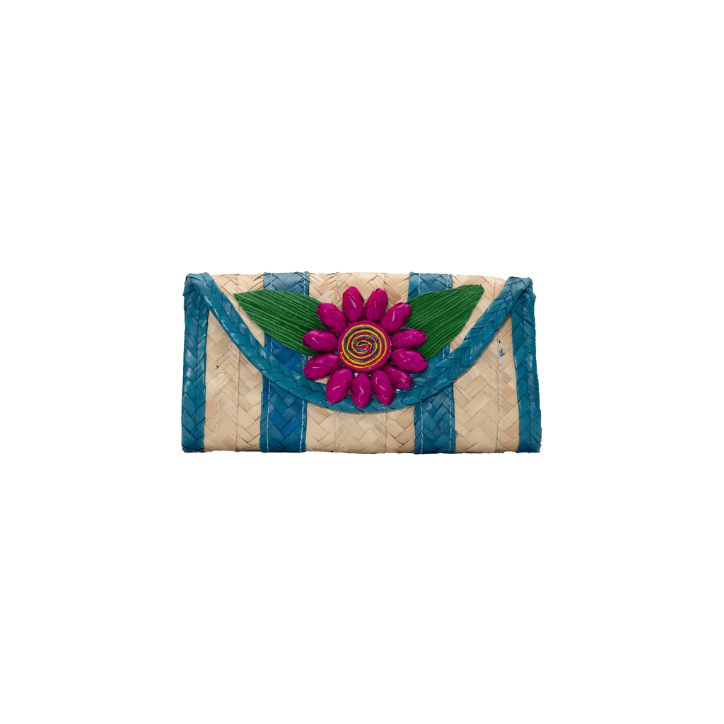 Melissa Wallet in Turquoise with Pink Flower - Josephine Alexander Collective