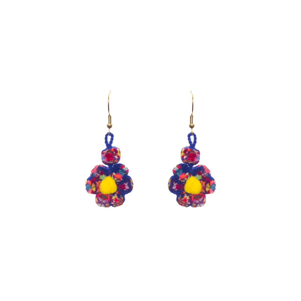 Mini Flower Earrings in Blue Confetti - Josephine Alexander Collective