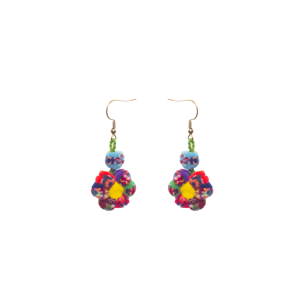 Mini Pom Flower Earrings in Rainbow Sprinkles - Josephine Alexander Collective