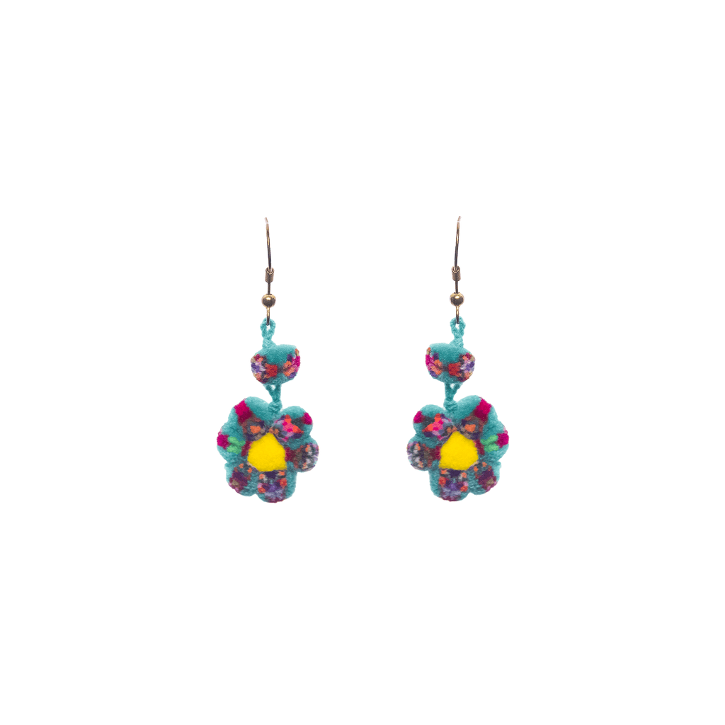 Mini Flower Earrings in Turquoise Confetti - Josephine Alexander Collective