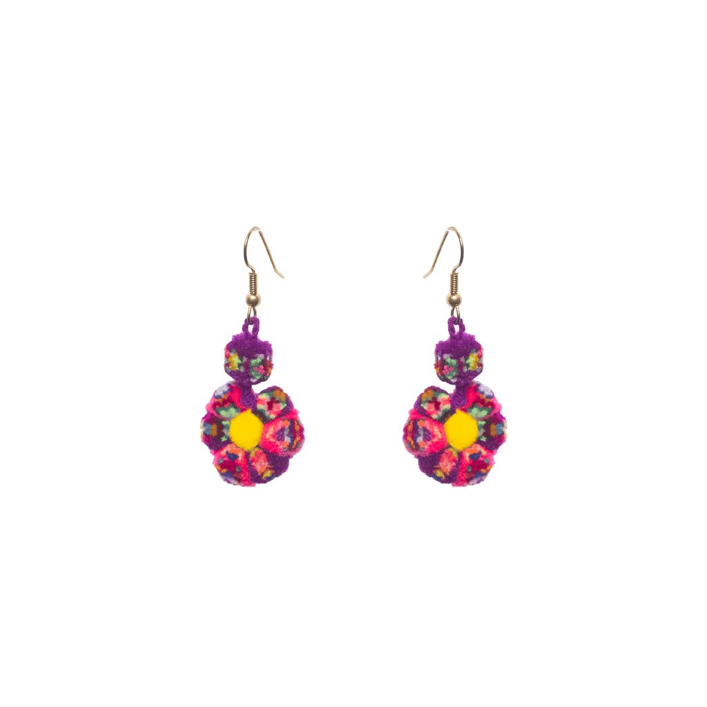 Mini Flower Earrings Violet and Pink Confetti - Josephine Alexander Collective