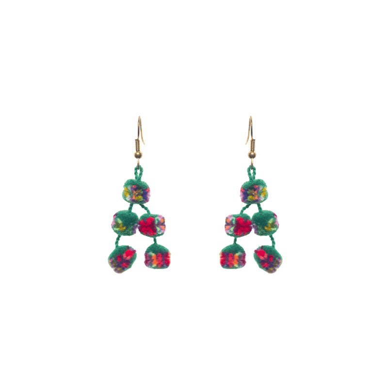 Mini Pom Earrings in Green  Confetti - Josephine Alexander Collective