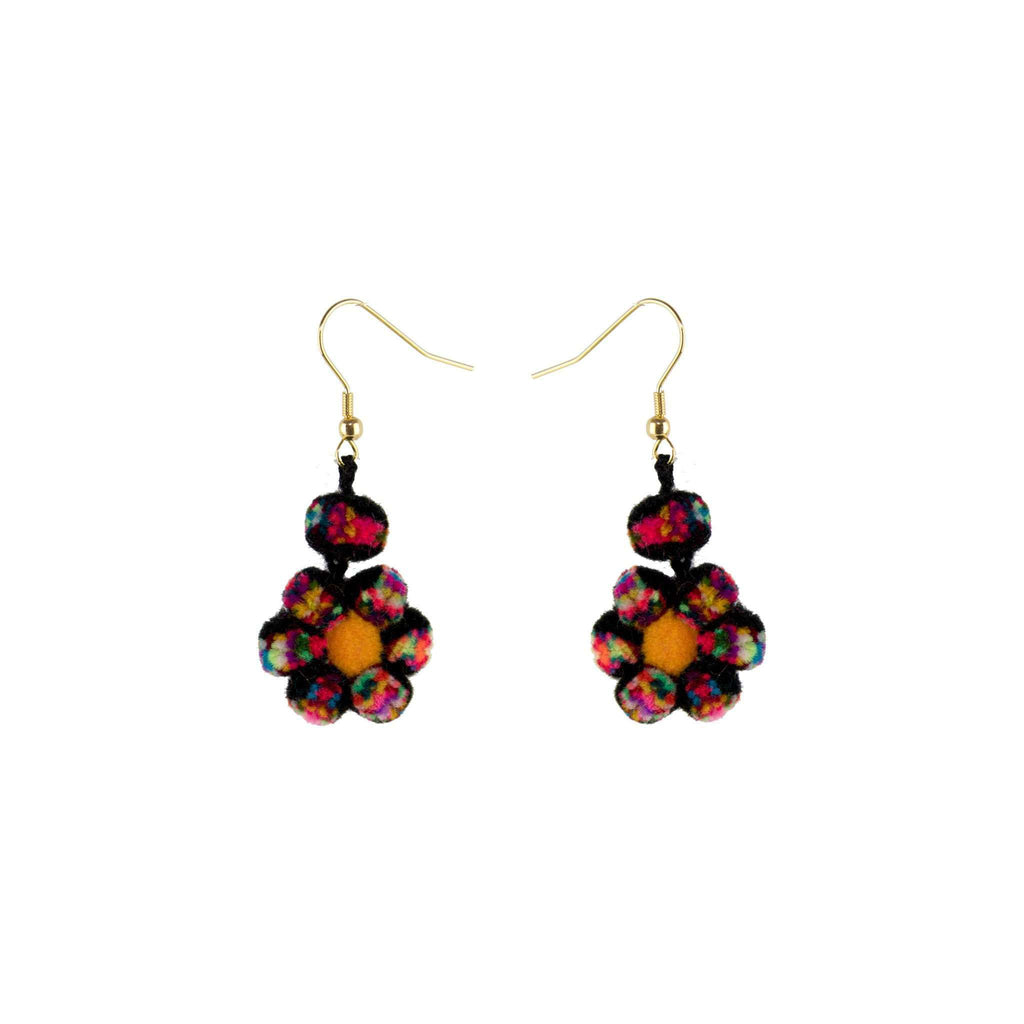 Mini Pom Flower Earrings in Black Funfetti - Josephine Alexander Collective