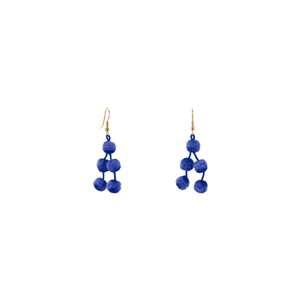 Mini Pom Earrings in Blue - Josephine Alexander Collective