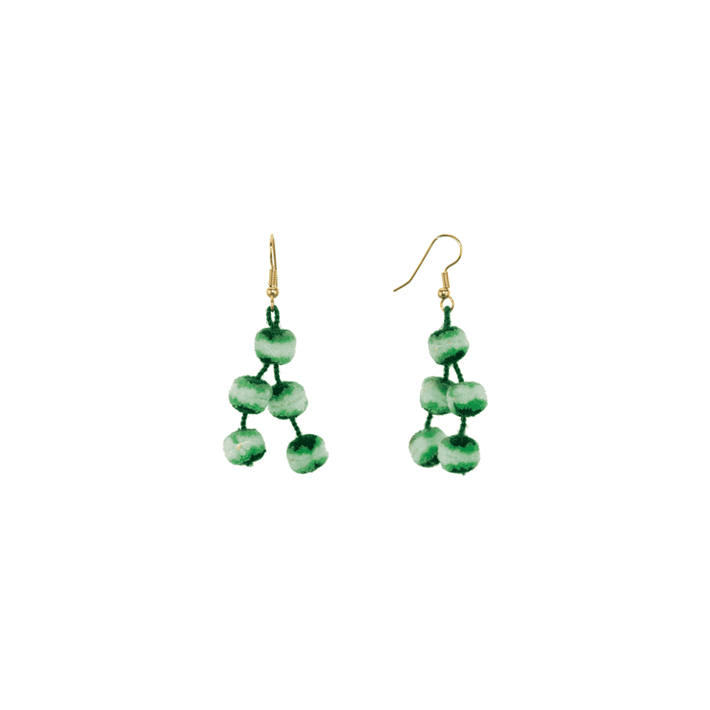 Mini Pom Earrings in Cucumber Mojito