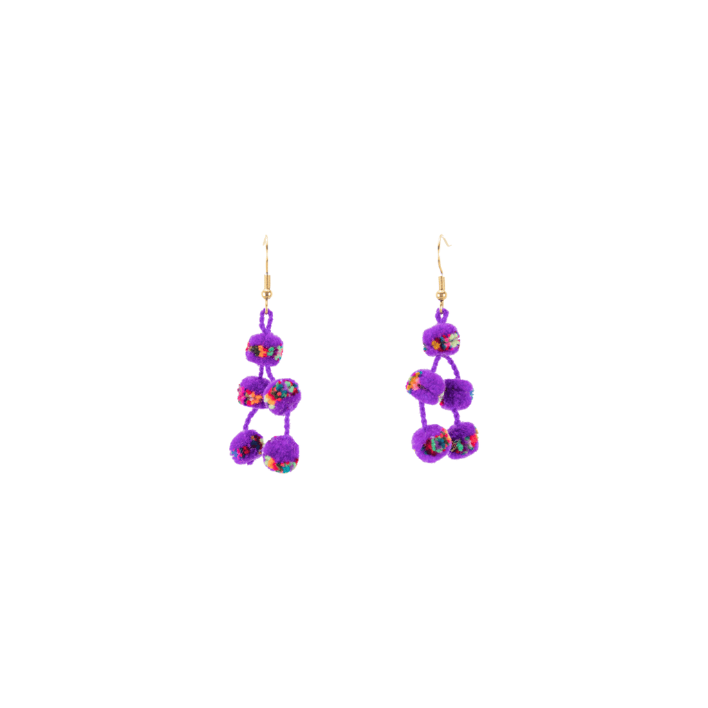 Mini Pom Earrings in Purple Confetti
