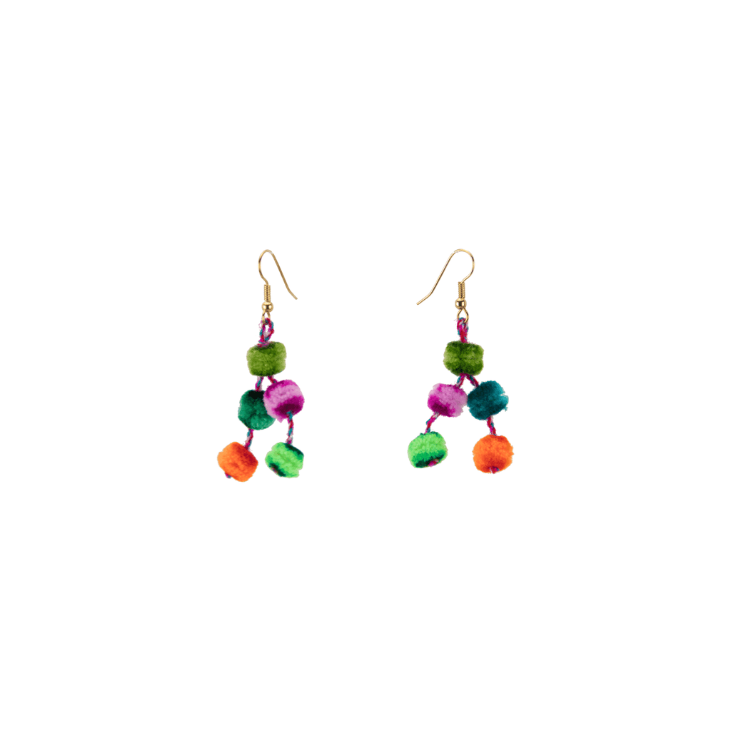 Mini Pom Earrings in Rainbow