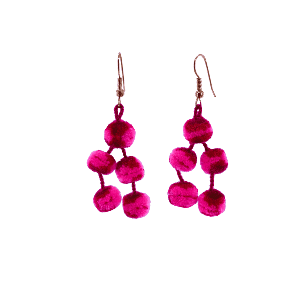 Mini Pom Earrings in Tie Dye Pink - Josephine Alexander Collective