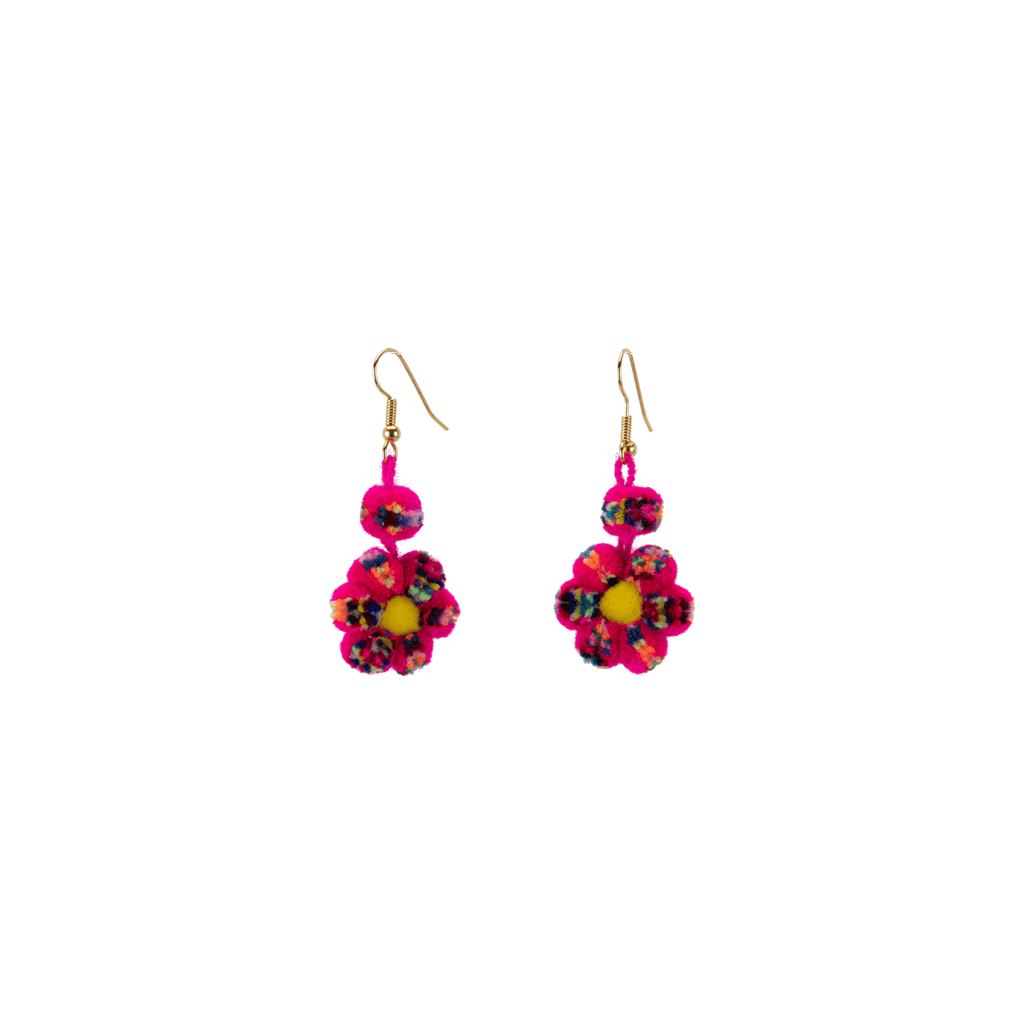 Mini Pom Flower Earrings in  Hot Pink Confetti - Josephine Alexander Collective