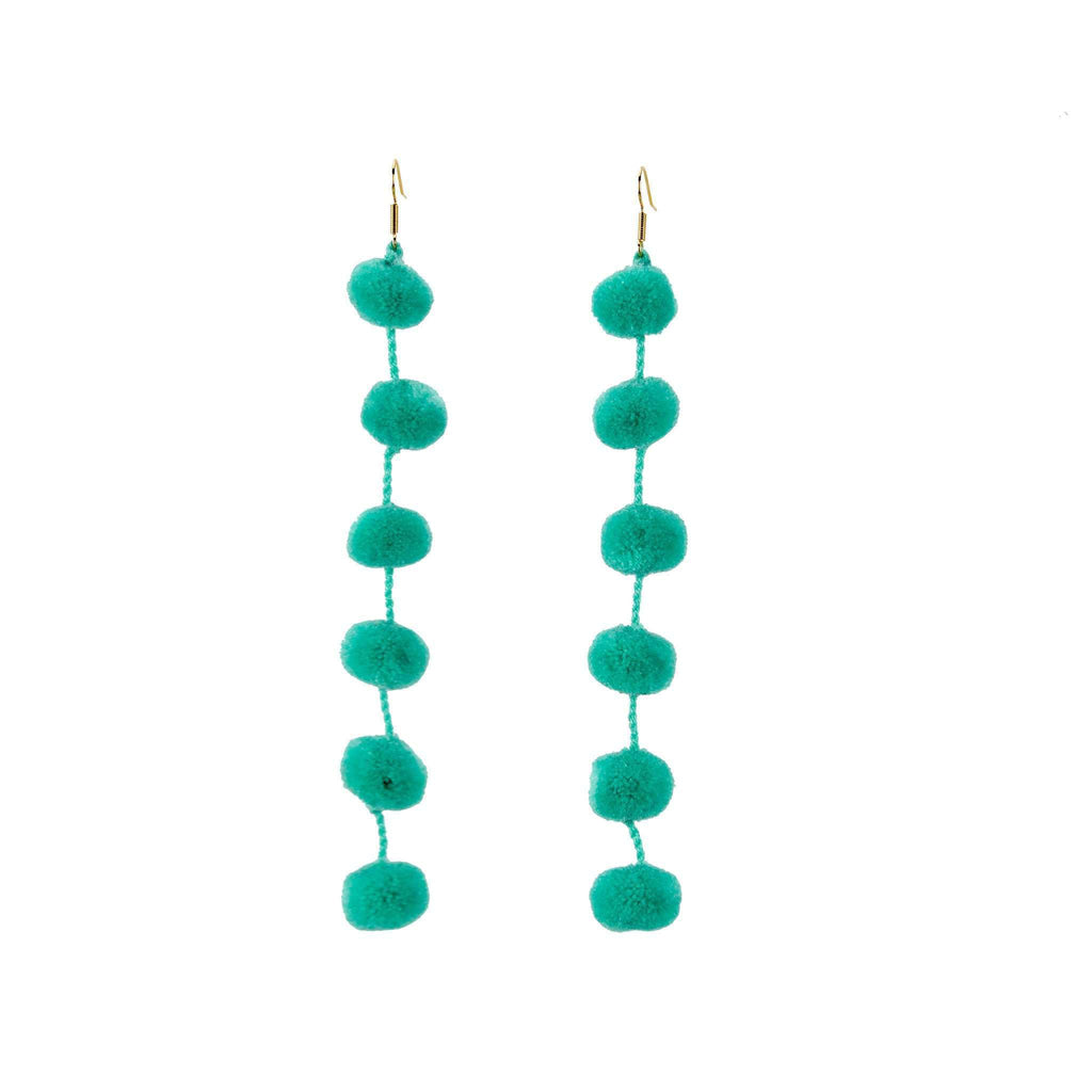 Pom Drop Earrings in Mint - Josephine Alexander Collective