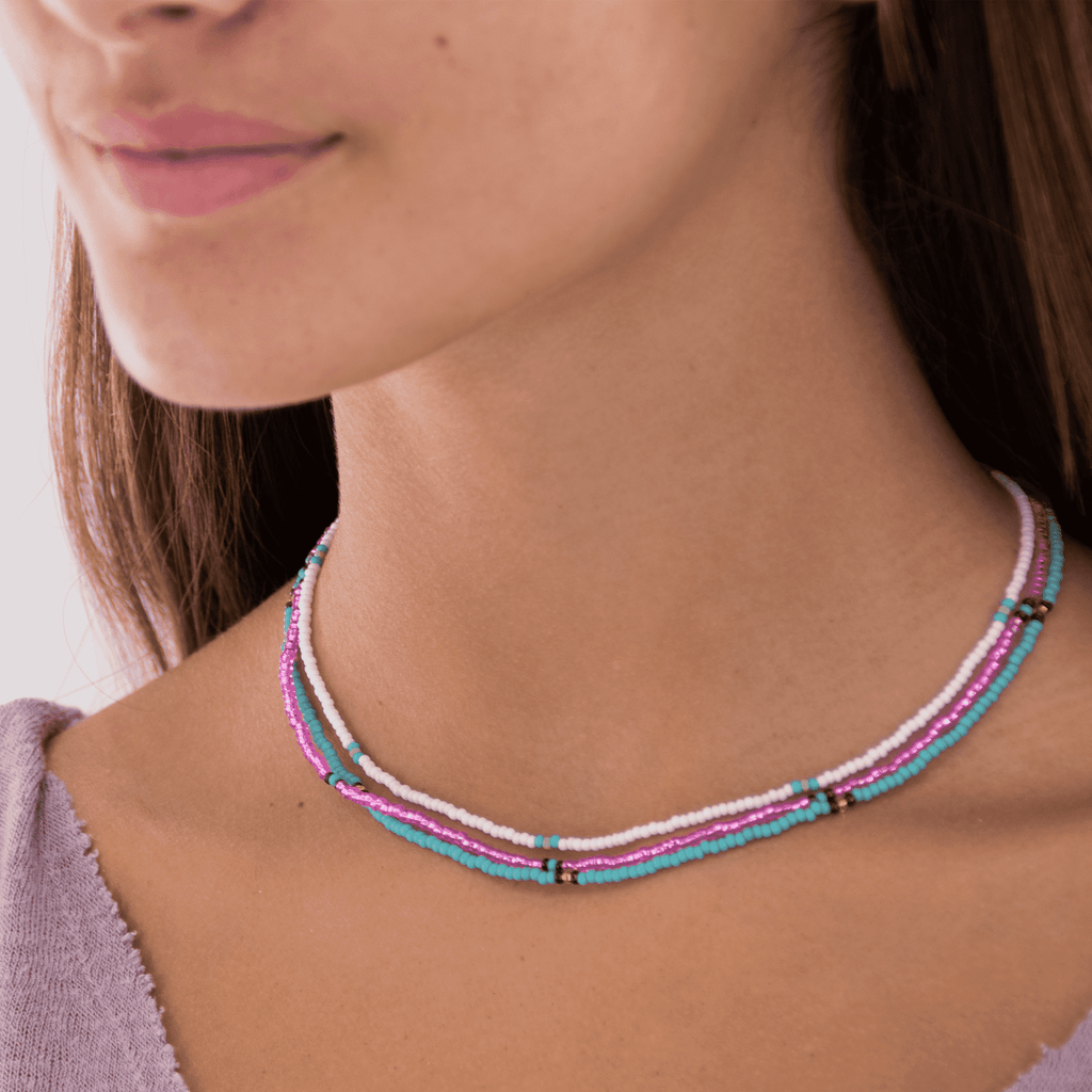 Bubblegum Beaded Necklace Stack - Josephine Alexander Collective