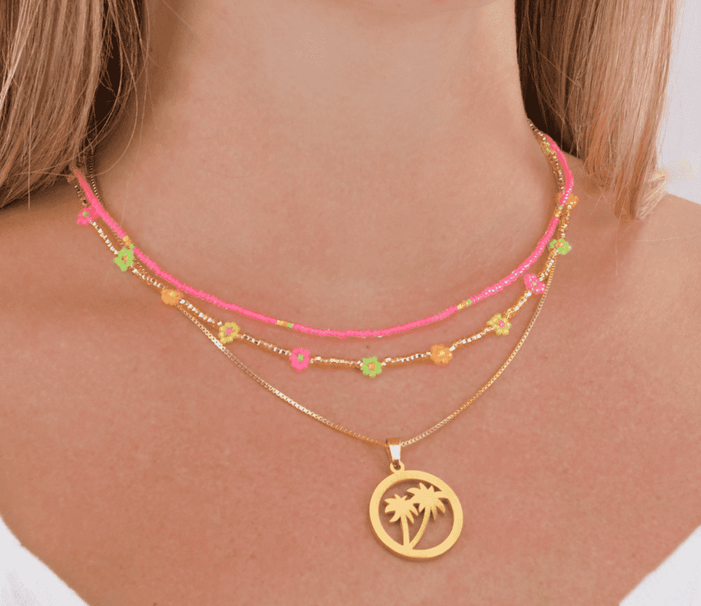 Neon Palms Necklace Stack - Josephine Alexander Collective