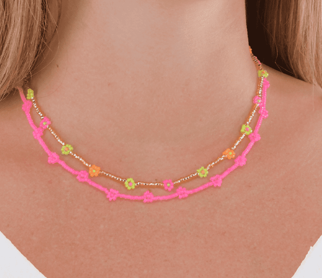 Neon Pink & Gold Flowers Necklace Stack - Josephine Alexander Collective