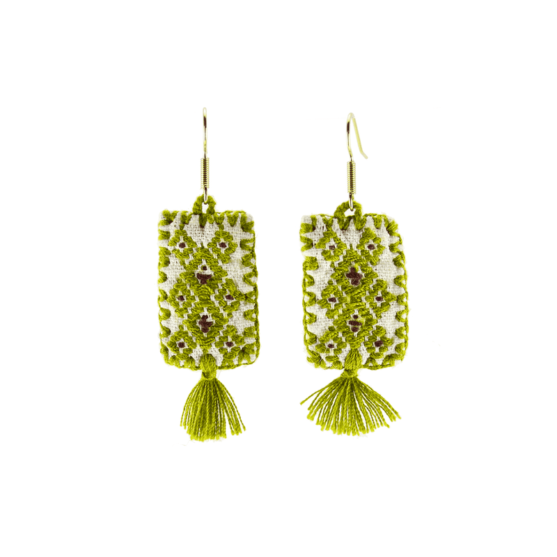 Oaxaca Woven Earrings in Poison Ivy- Medium - Josephine Alexander Collective