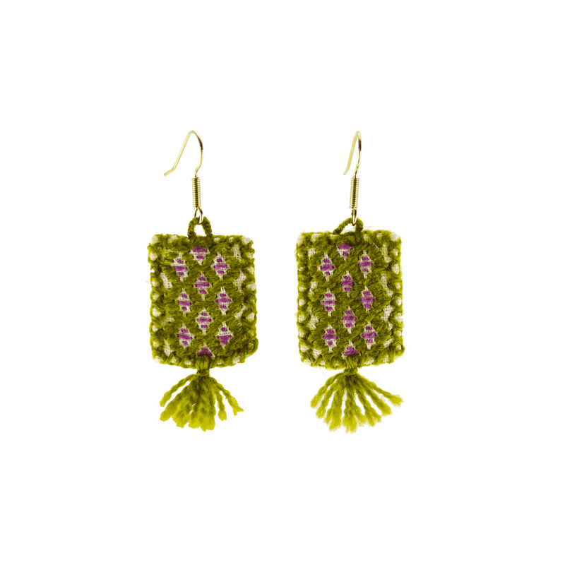 Oaxaca Woven Earrings in Sage- Small - Josephine Alexander Collective