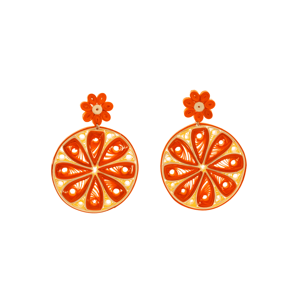 Orange Slice Quilled Earrings - Josephine Alexander Collective