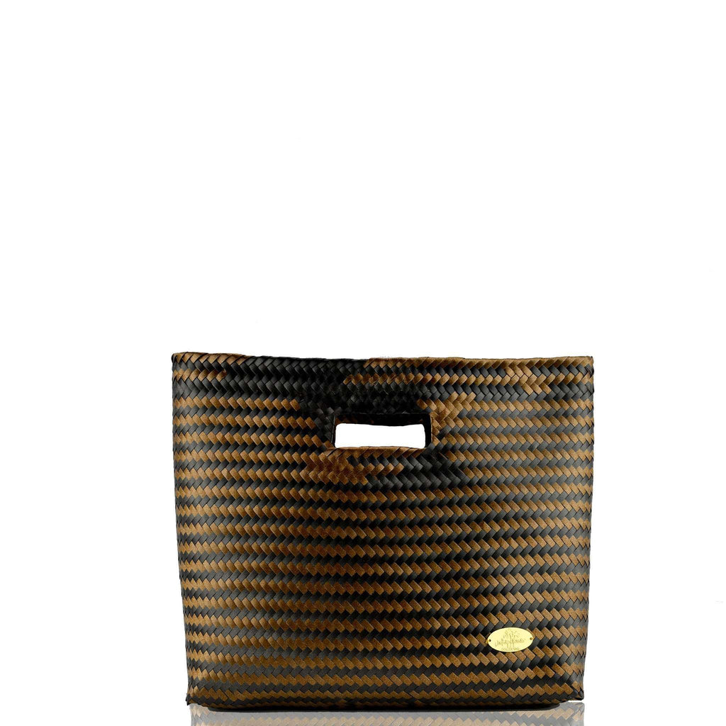 Palma Woven Hand Bag in Black and Copper
