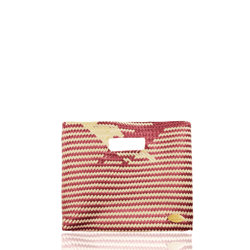 Palma Woven Handbag in Ivory and Garnet