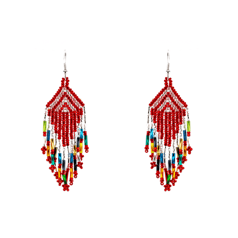 Papagayo Earrings in Red Rainbow