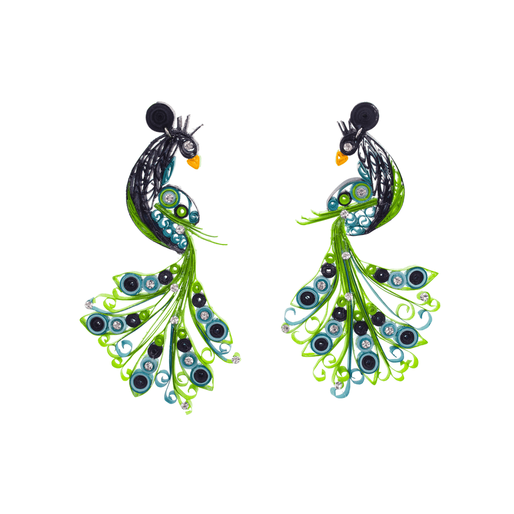 Penelope the Peacock Quilled Earrings