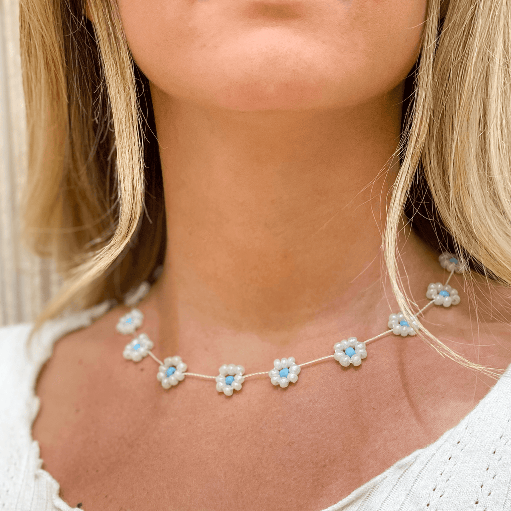 Large Daisy Chain Necklace Pearl White & Blue - Josephine Alexander Collective
