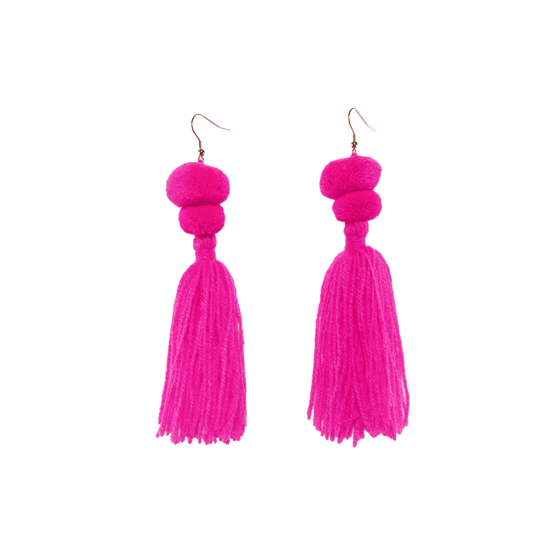Alexandra Double Pom Tassel Earrings in Pink Drink
