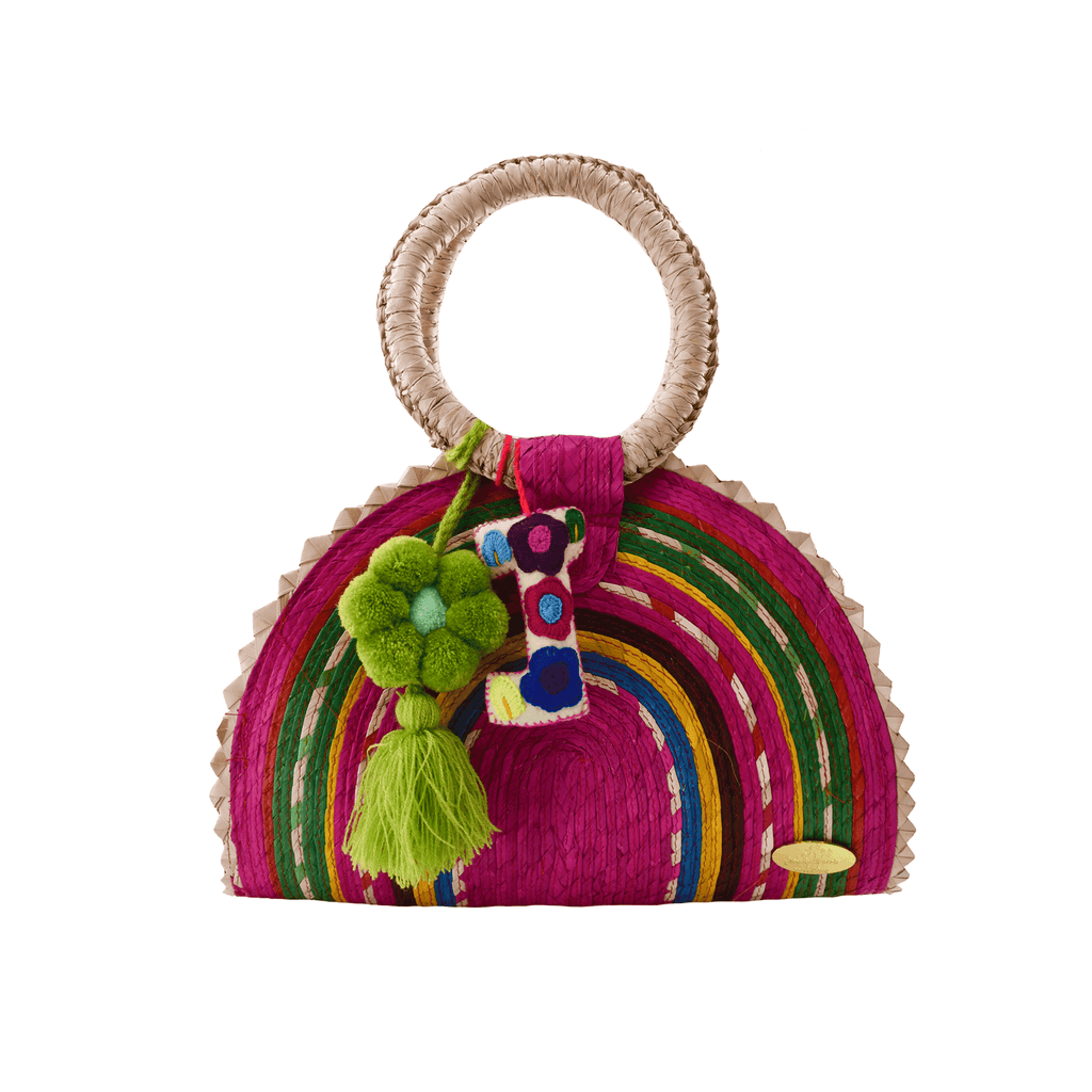 Rainbow Burst Straw Bag in Pink Flowers - Josephine Alexander Collective