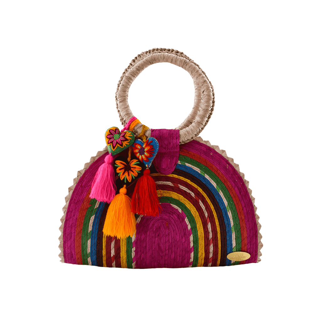 Rainbow Burst Straw Bag in Pink Hearts - Josephine Alexander Collective
