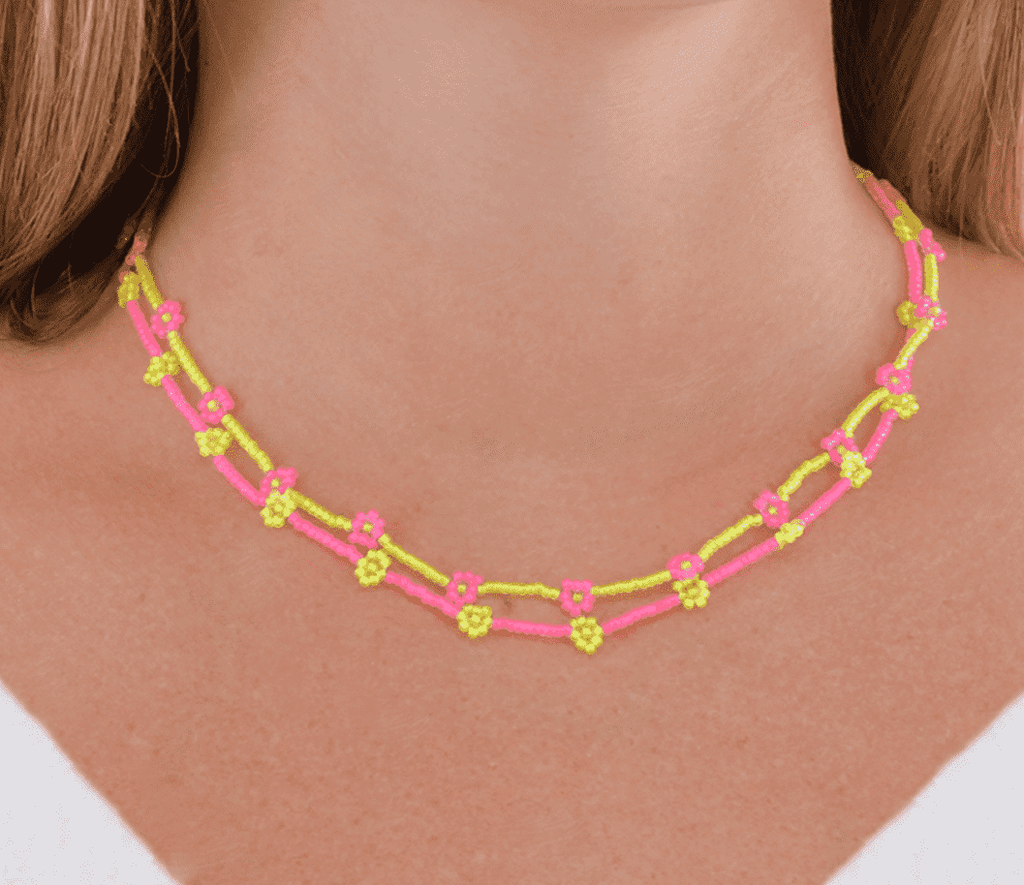 Neon Pink and Yellow Flowers Necklace Stack - Josephine Alexander Collective