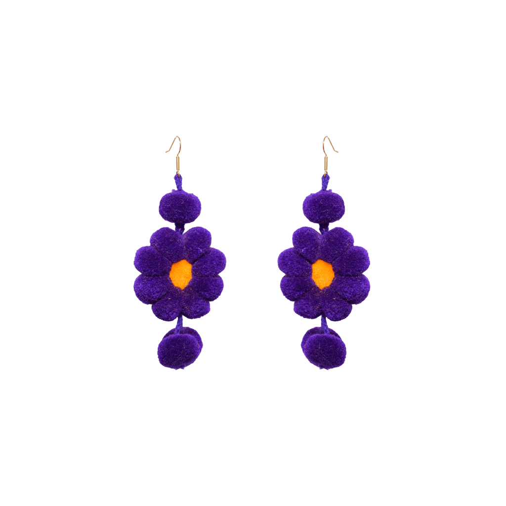 Pom Flower Earrings African Violet - Josephine Alexander Collective