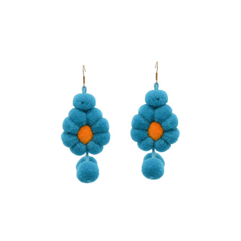 Pom Flower Earrings  Blue Hawaiian - Josephine Alexander Collective