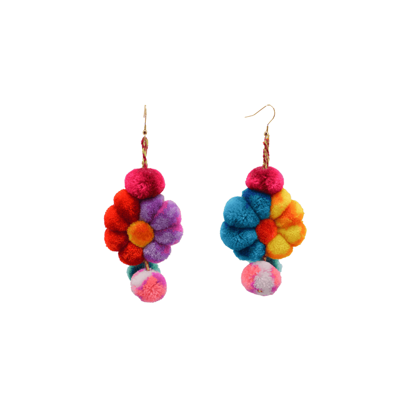 Pom Flower Earrings  Chimera Rainbow - Josephine Alexander Collective