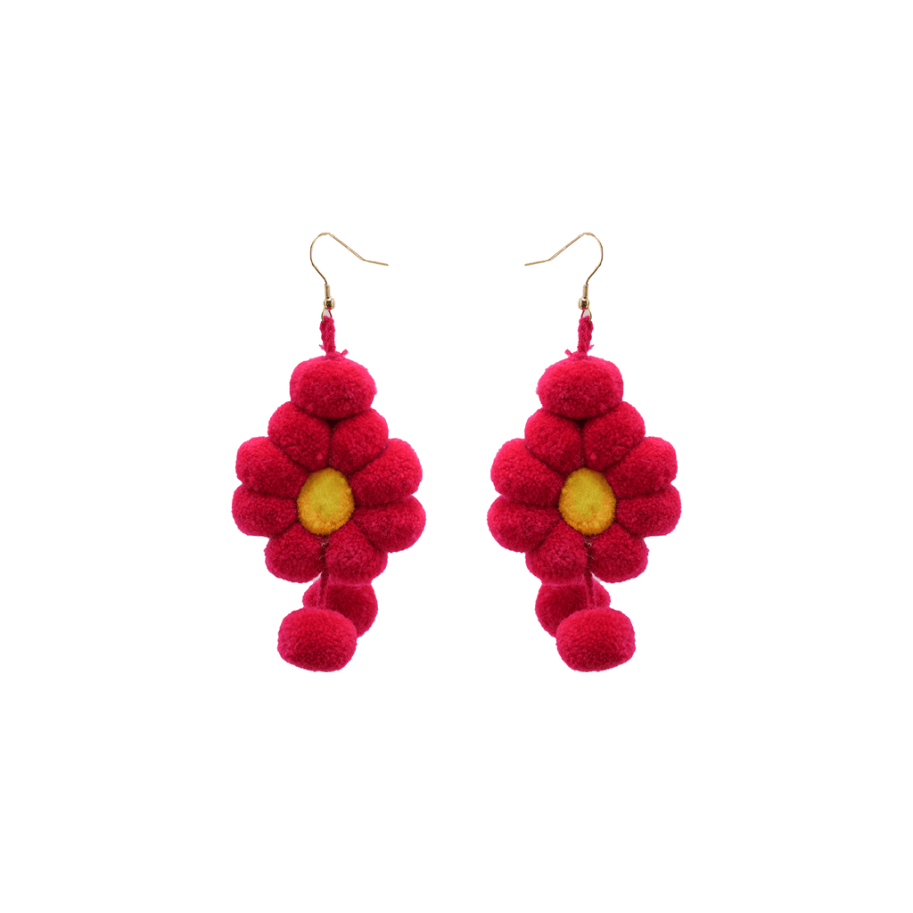 Pom Flower Earrings Fuchsia - Josephine Alexander Collective