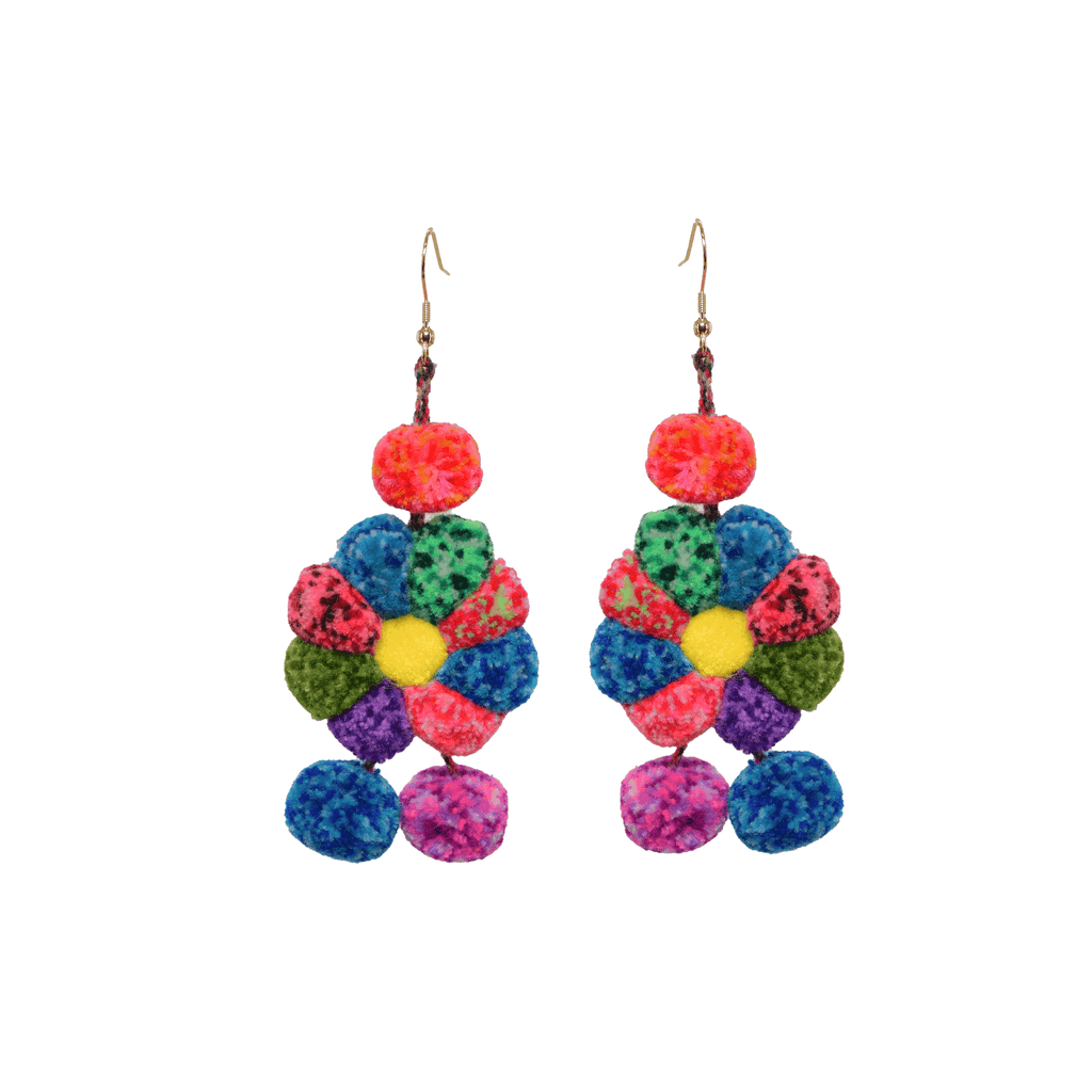 Pom Flower Earrings Rainbow Confetti - Josephine Alexander Collective