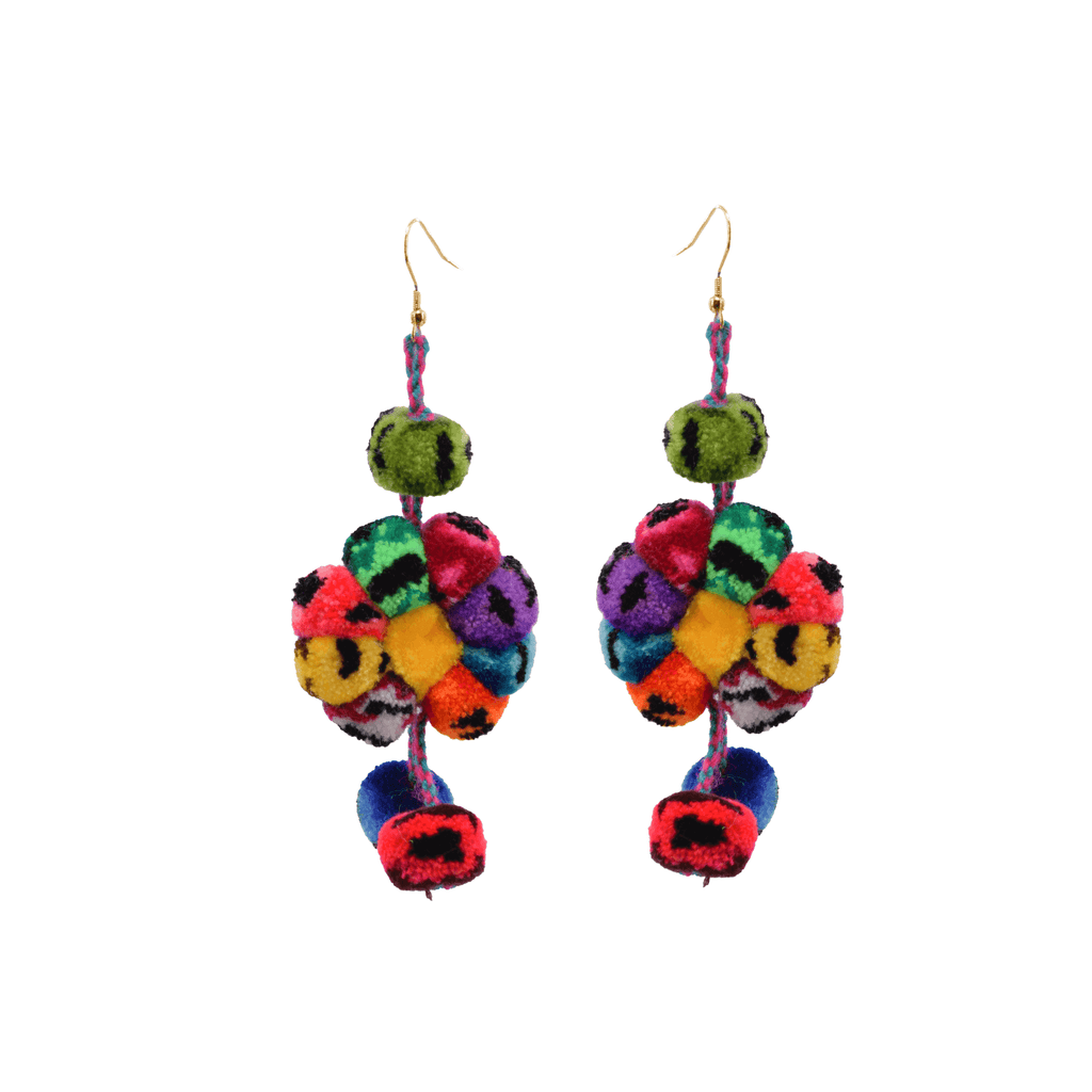 Pom Flower Earrings Rainbow Leopard - Josephine Alexander Collective