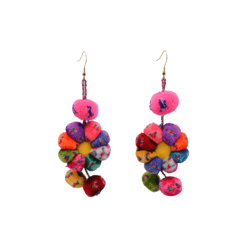 Pom Flower Earrings Rainbow Sprinkles - Josephine Alexander Collective