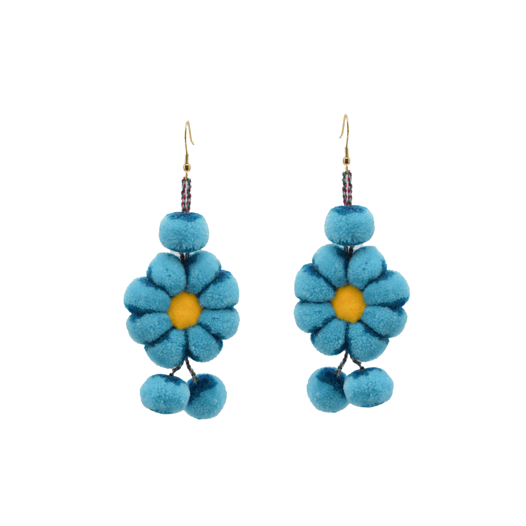 Pom Flower Earrings Tie Dye Blue Aqua - Josephine Alexander Collective