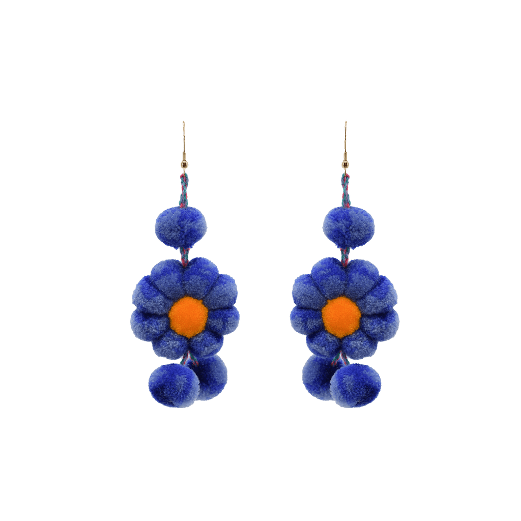 Pom Flower Earrings Tie Dye Blue Bell - Josephine Alexander Collective