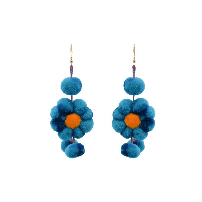 Pom Flower Earrings Tie Dye Blue Hawaiian - Josephine Alexander Collective