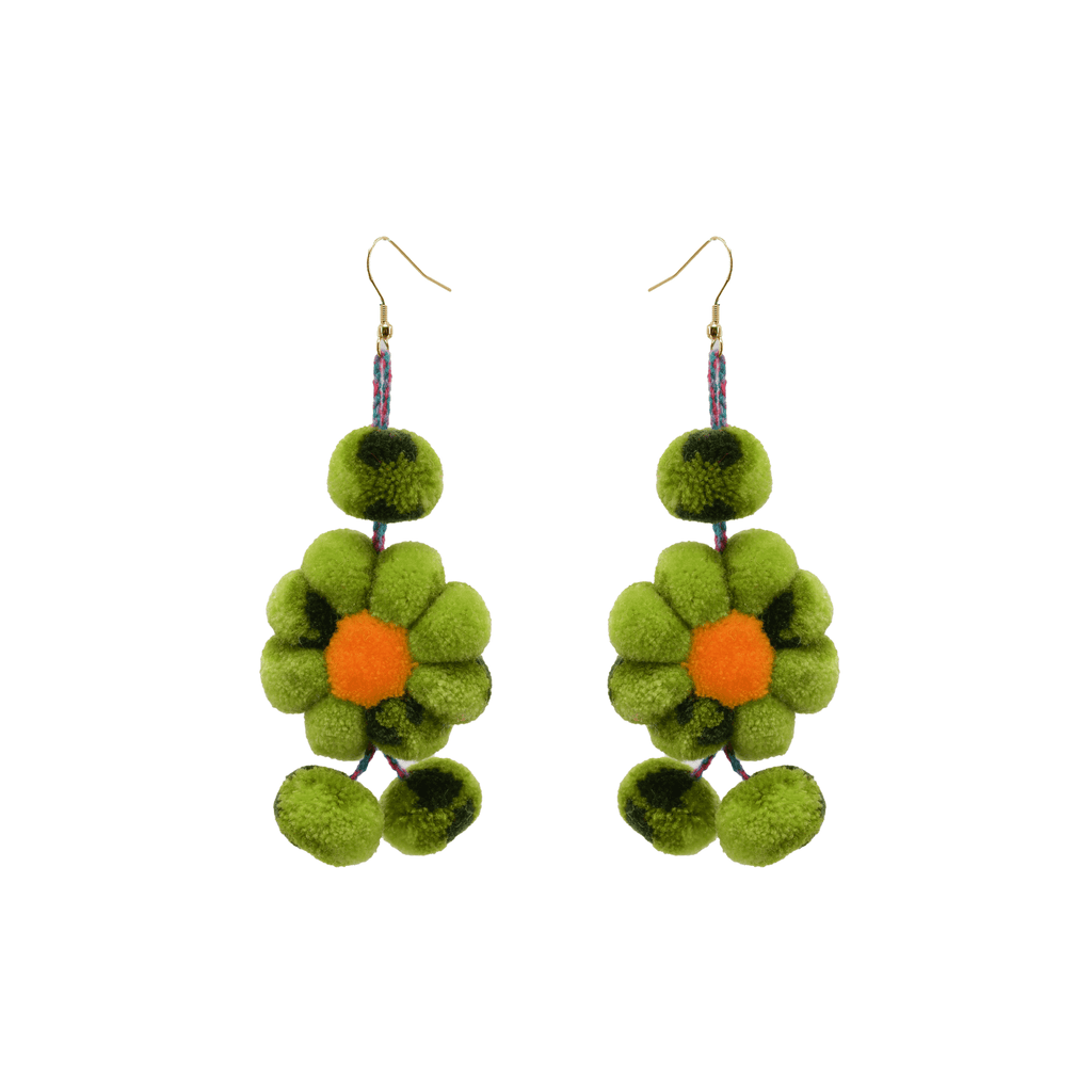 Pom Flower Earrings Tie Dye Lime - Josephine Alexander Collective