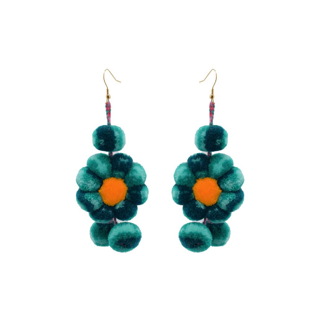 Pom Flower Earrings Tie Dye Mint - Josephine Alexander Collective
