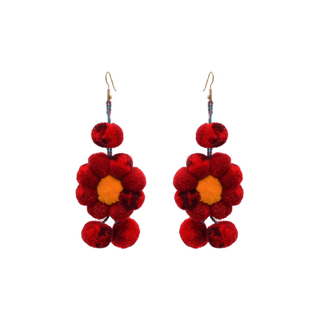 Pom Flower Earrings Tie Dye Red - Josephine Alexander Collective