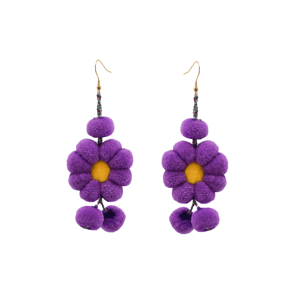 Pom Flower Earrings Tie Dye Ultra Violet - Josephine Alexander Collective